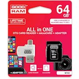 Карта памяти GOODRAM MICROSDXC 64GB CLASS 10 UHS I ALL IN ONE + READER (M1A4-0640R11)
